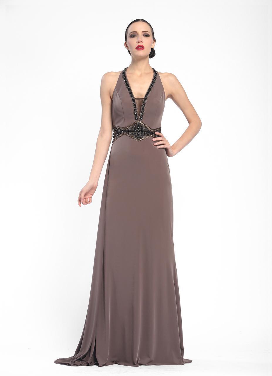 Sue Wong - Embellished Halter Neck A-Line Dress N5347