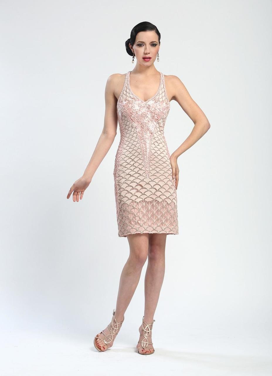 Sue Wong - Embroidered Halter Neck Dress N4244