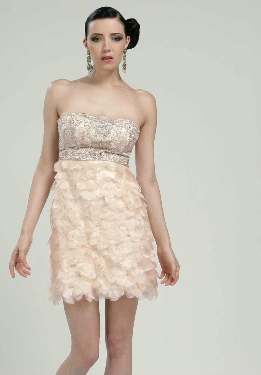 Sue Wong - N1170 Beaded Sheer Petal Sheath Cocktail Dress