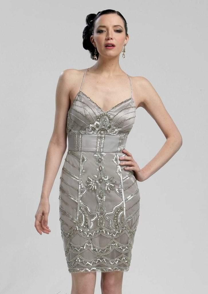 Sue Wong - N3213 V-neck Beaded Sheath Dress
