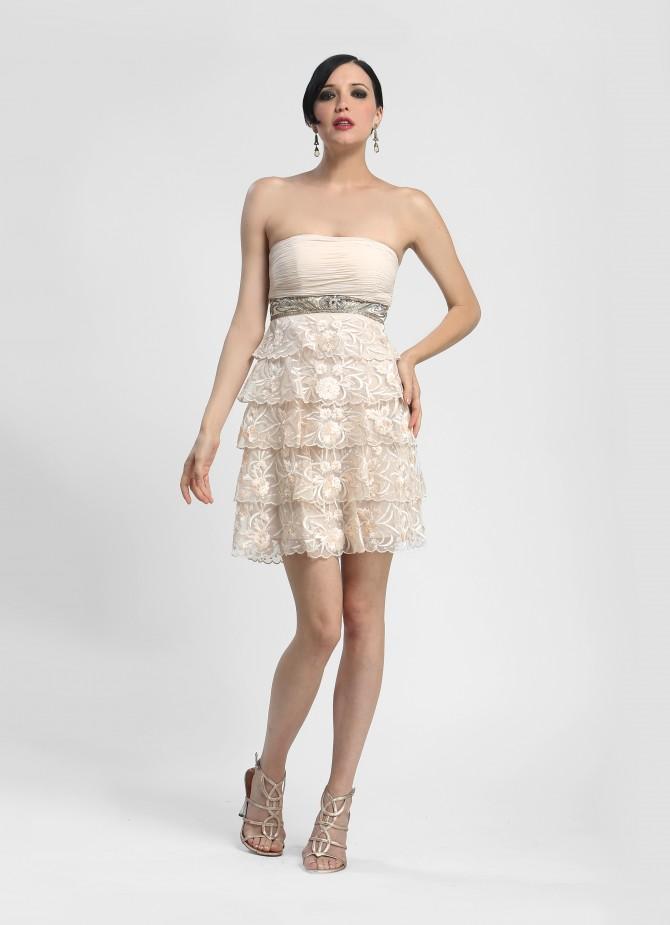 Sue Wong - N4160 Strapless Empire Waist Cocktail Dress