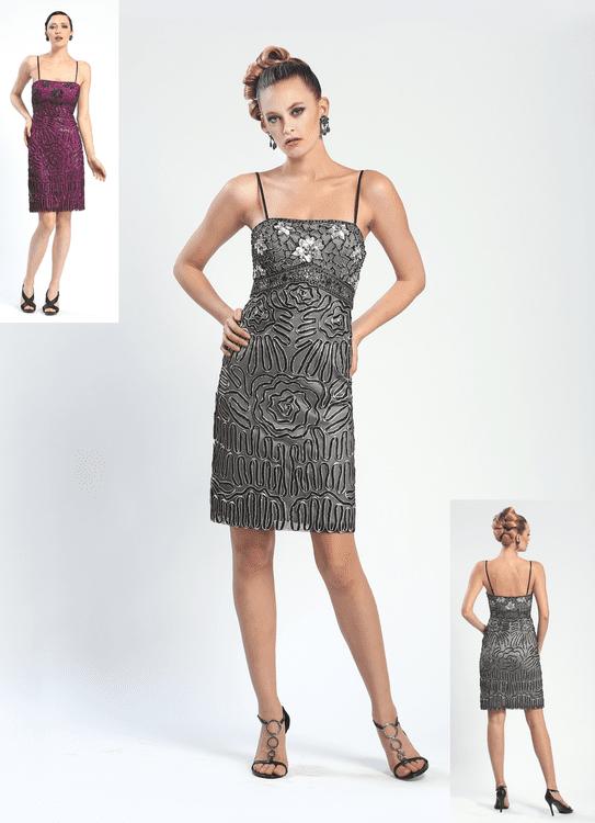 Sue Wong - N4333 Spaghetti Strap Beaded Sheath Cocktail Dress