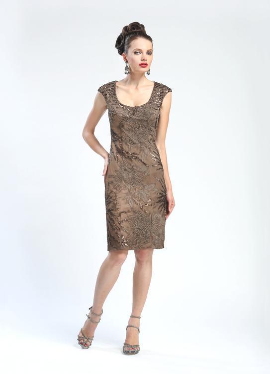 Sue Wong - Sequined Cap Sleeve Scoop Neck Dress N4405