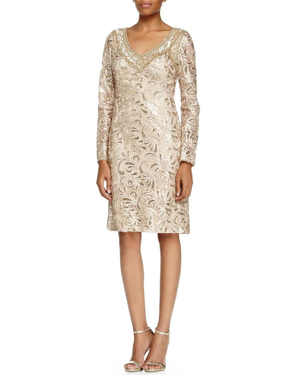 Sue Wong - Sequined Paisley Sheath Dress N5115