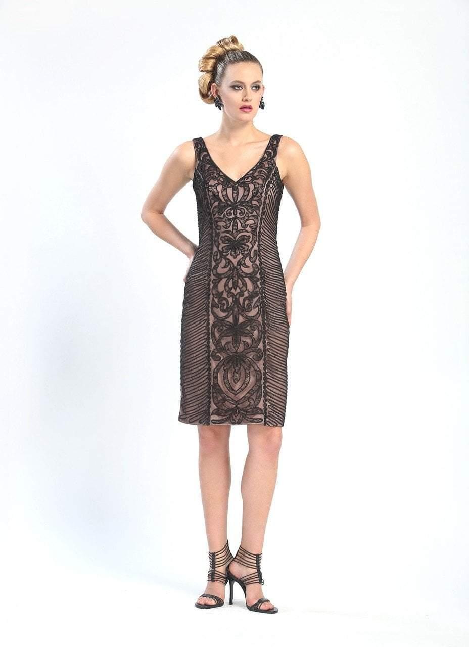 Sue Wong - V-Cut Neckline Swirl Patterned Dress N4305