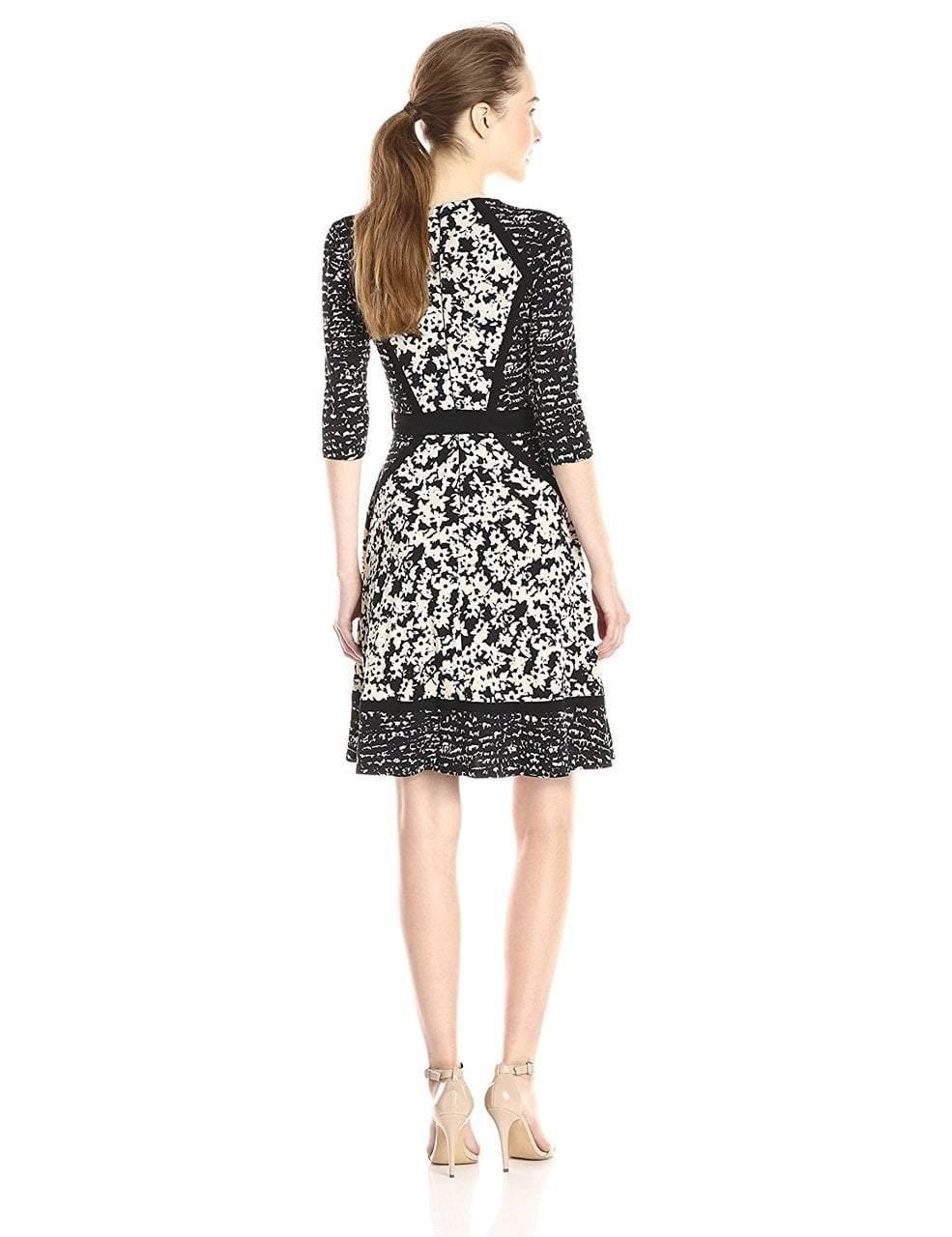 Taylor - 5708MX V-Neck Wrap Print Dress