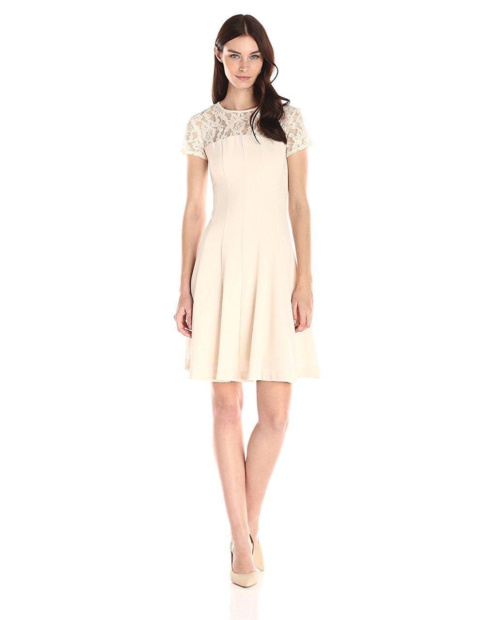 Taylor - 7001M Short Sleeve Lace Flutter Dress