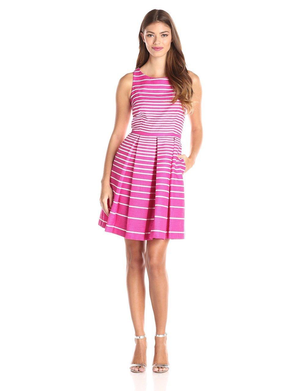 Taylor - 8074M Sleeveless Stripe Print Pleated Dress