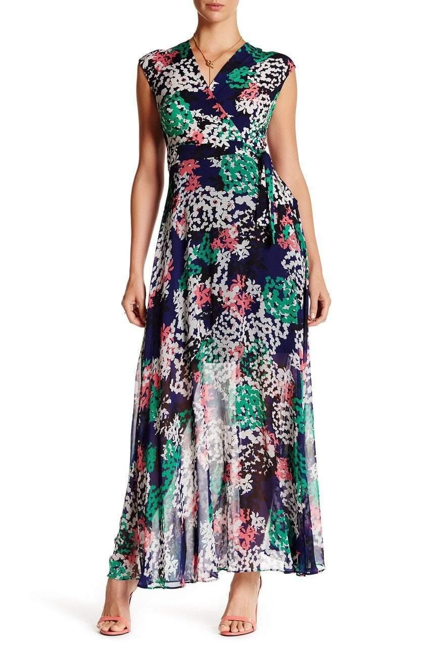 Taylor - 8391M Surplice Chiffon Wrap Dress