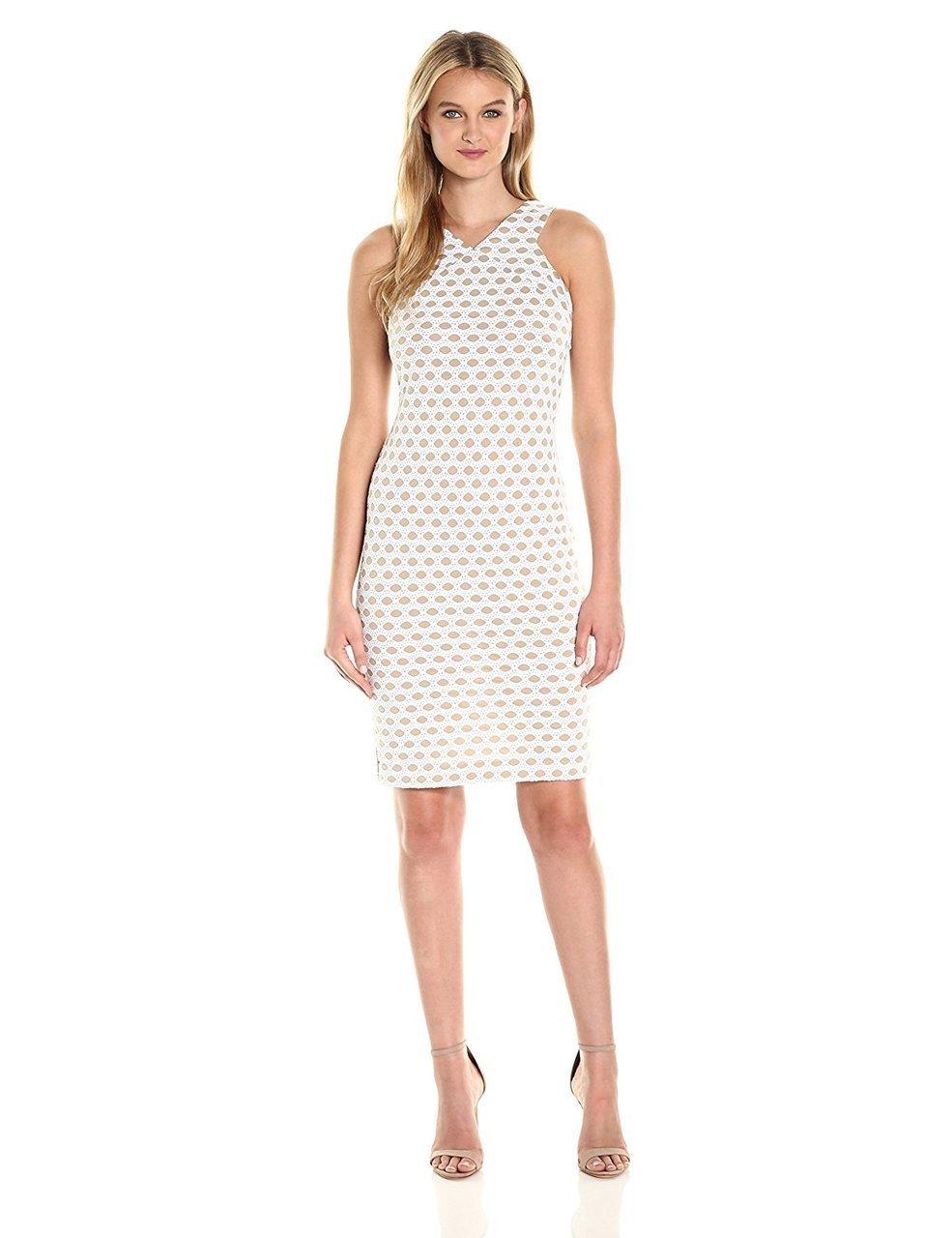 Taylor - 8892M Crochet Knit Sheath Dress