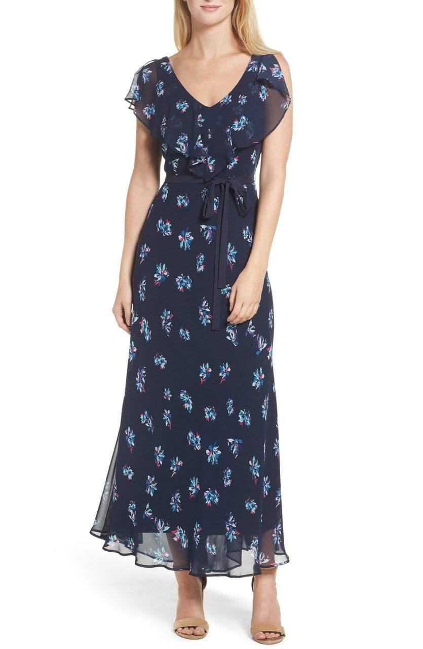 Taylor - 8941M Floral Tie Waist Dress