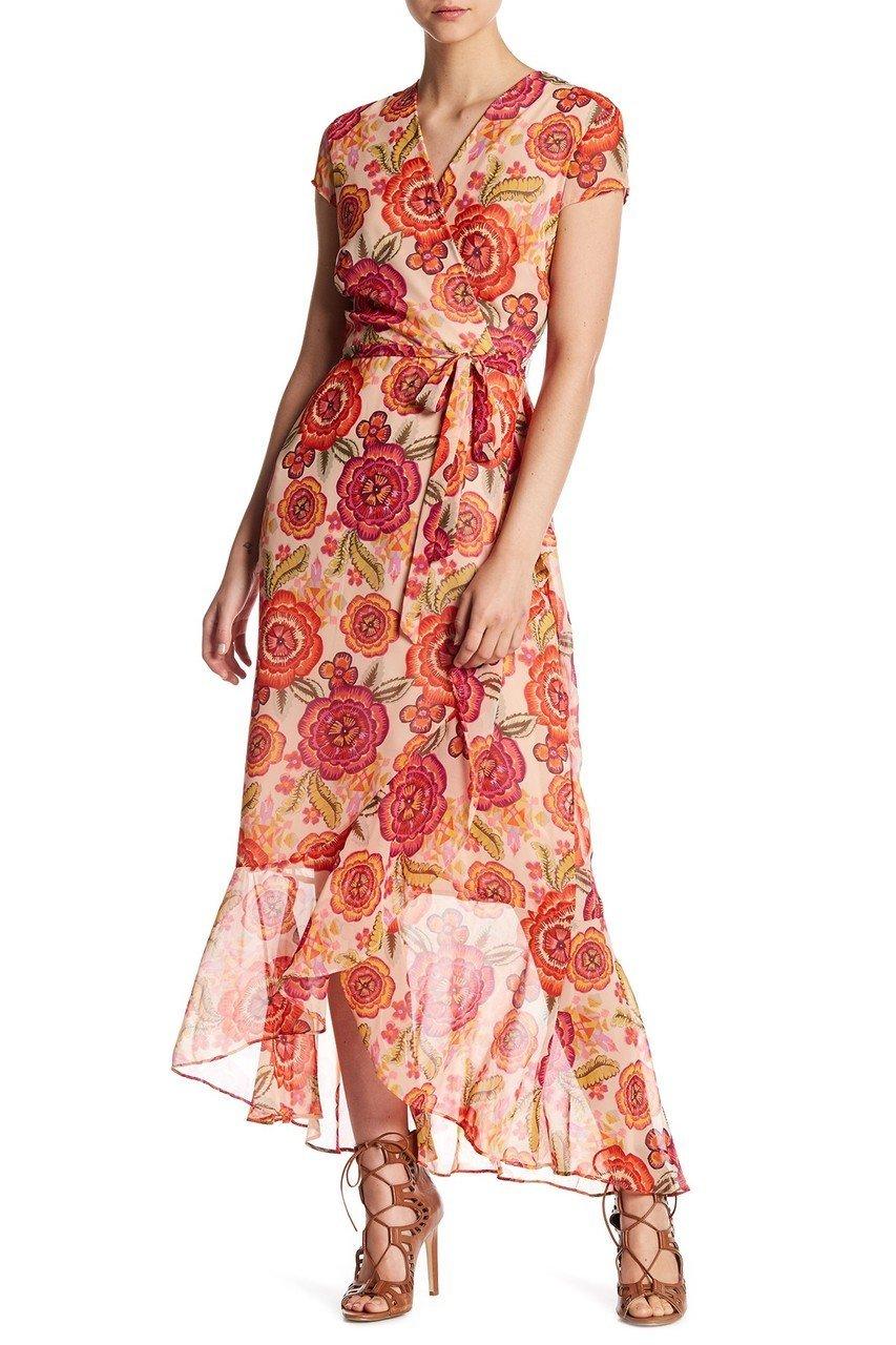 Taylor - 9044MJ Floral Print Faux Wrap Dress