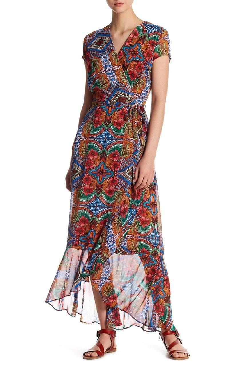Taylor - 9045MJ Abstract Chiffon Wrap Dress