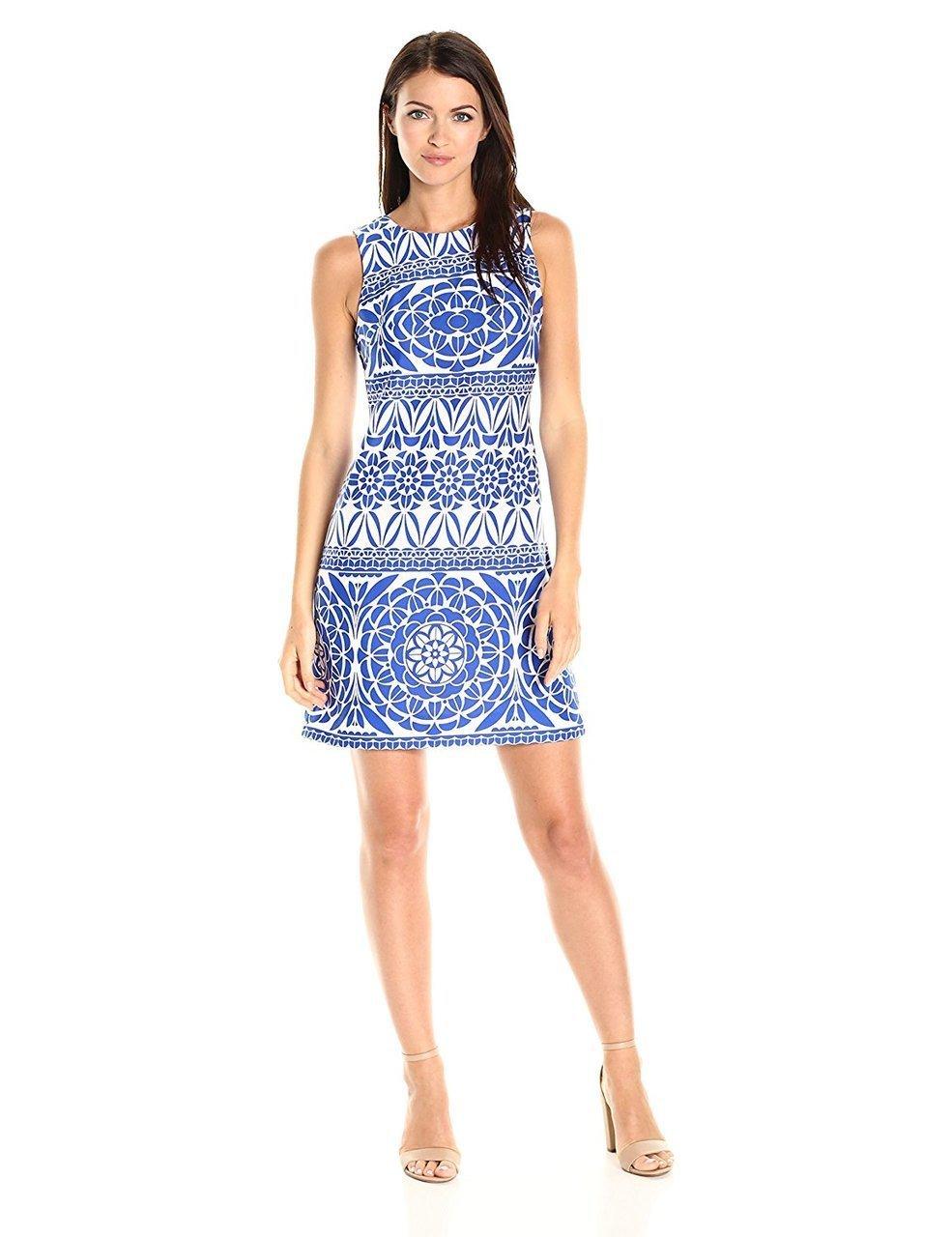 Taylor - 9174MJ Printed Jewel Neck A-line Dress