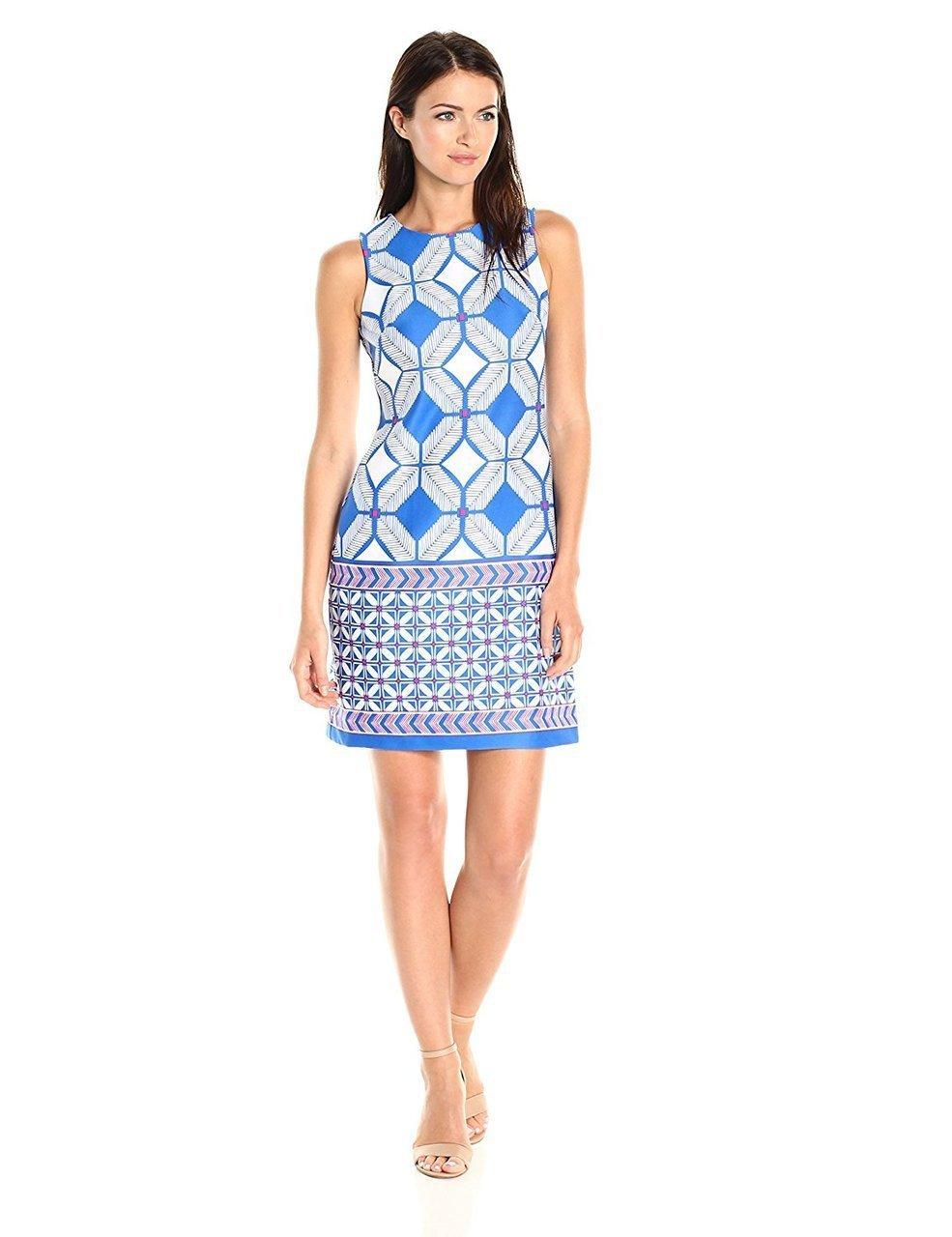 Taylor - 9175MJ Geo-Print Scuba Dress