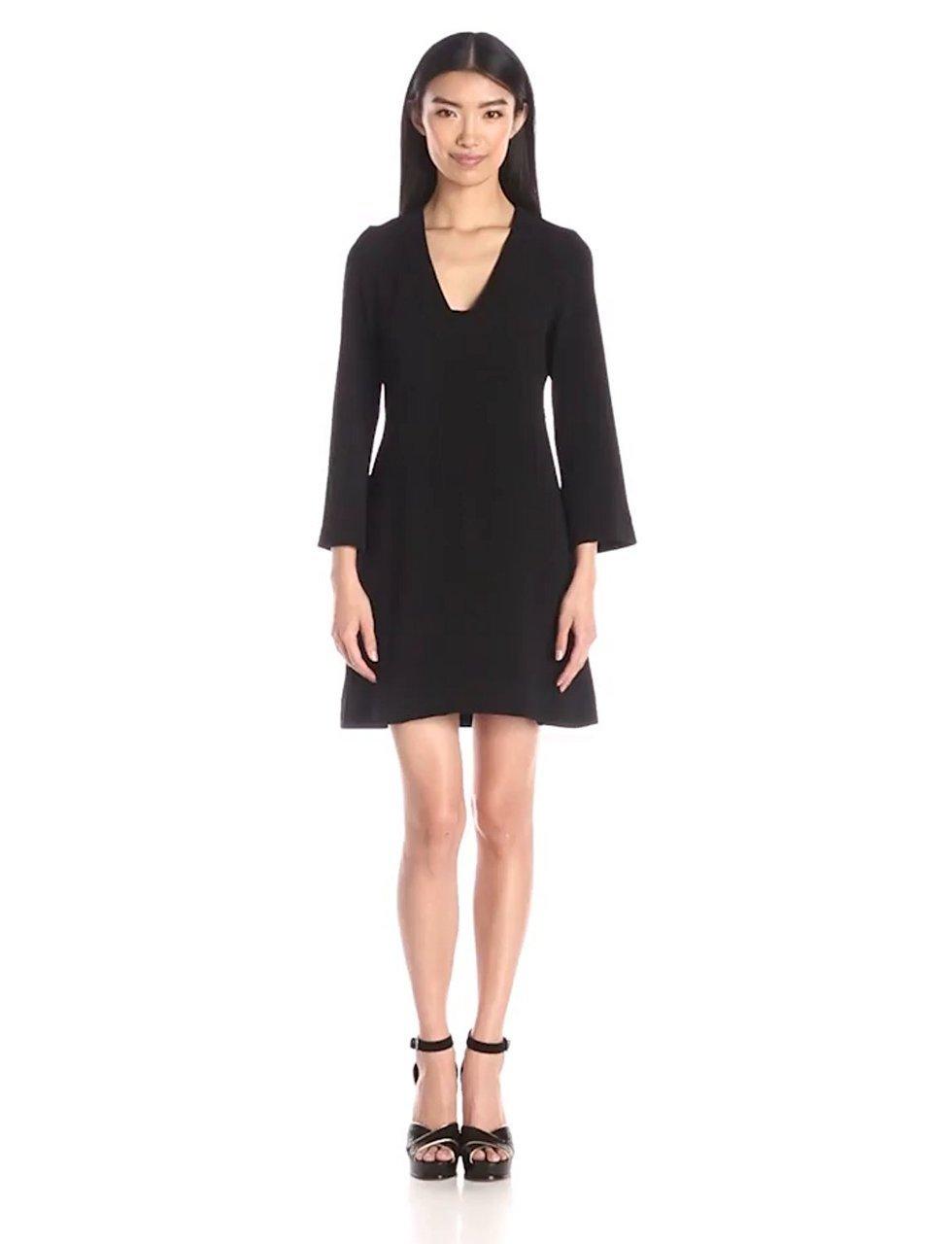 Taylor - Bell Sleeves V-Neck Short Crepe Dress 7038M