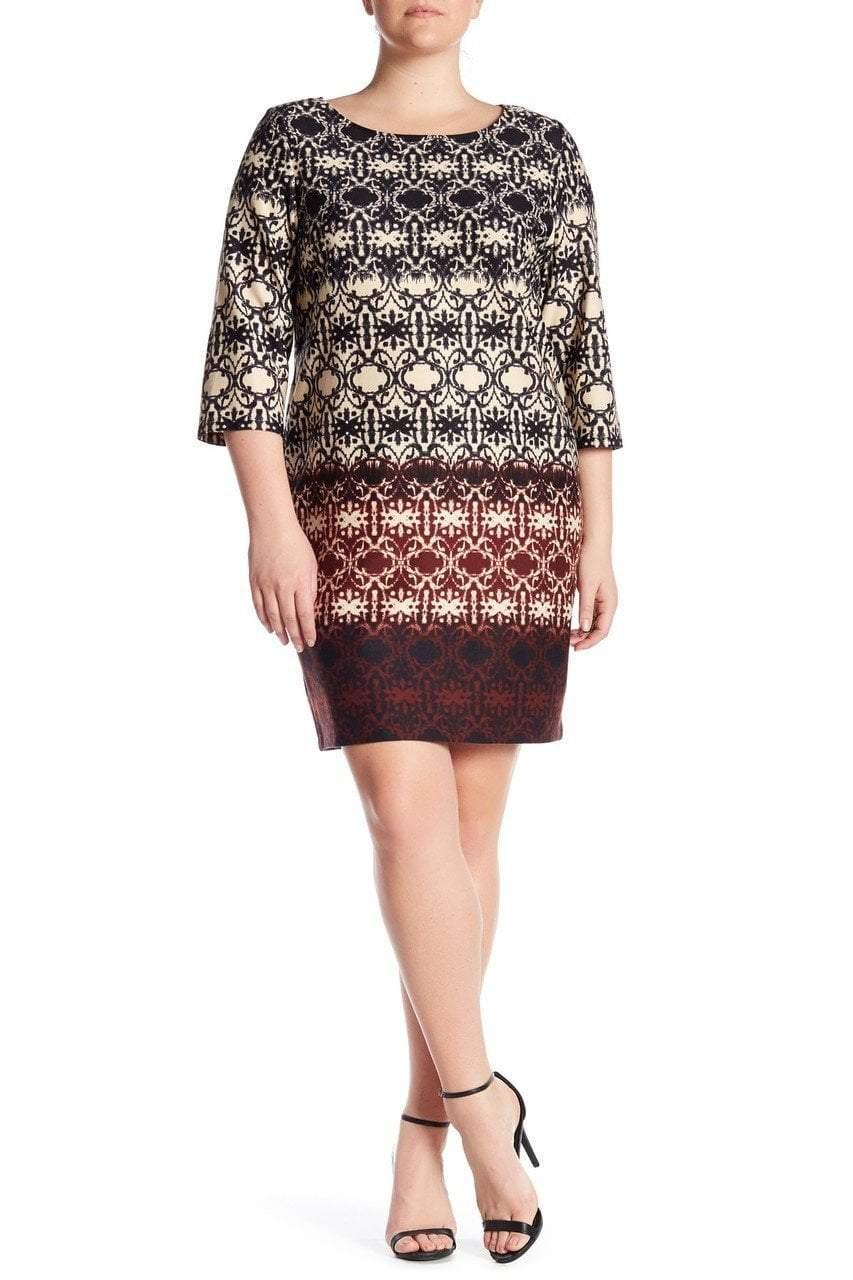 Taylor - Printed Bateau Neck Dress 5355L