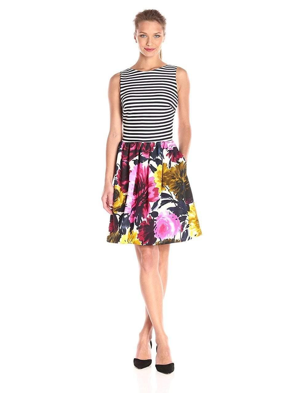 Taylor - Stripe and Floral Print A-line Dress 5997M