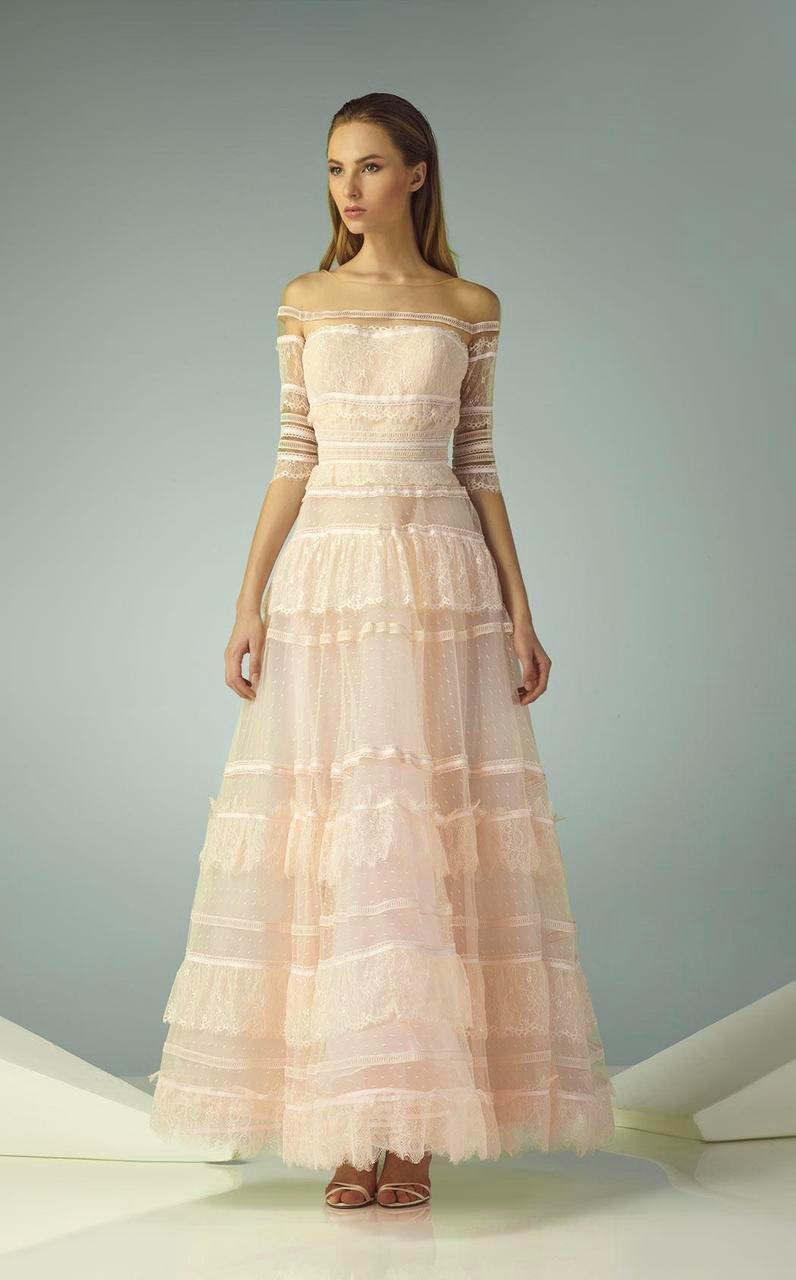 Beside Couture - BC1213 Lace Illusion Bateau A-line Dress