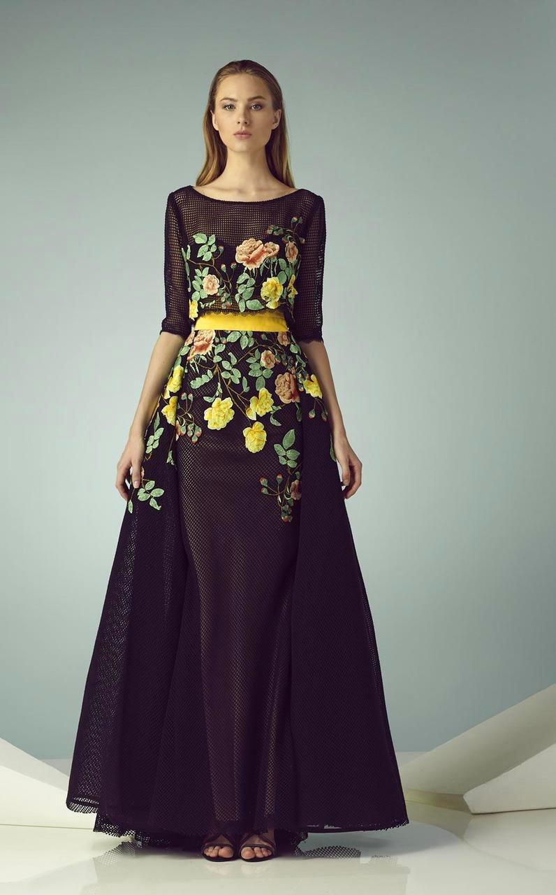 Beside Couture - BC1227 Floral Designed Illusion Bateau Dress
