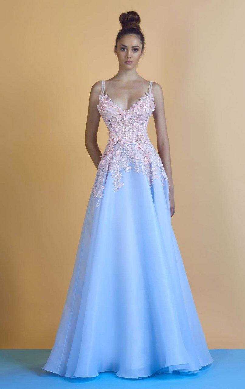 Beside Couture - BC1244 Floral Applique V Neck A Line Dress