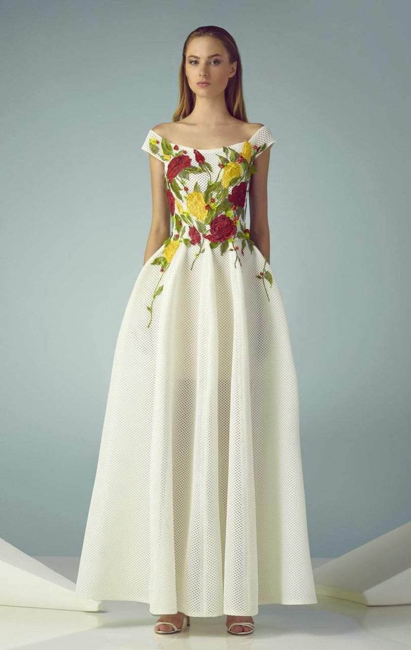 Beside Couture - BC1247 Floral Applique Mesh A-line Dress