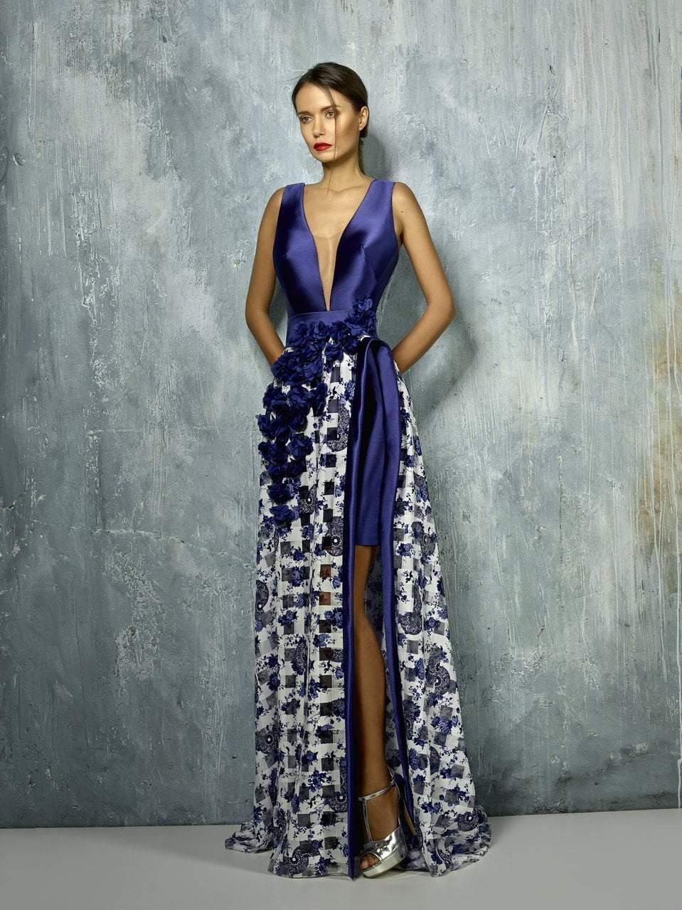 Beside Couture - BC1272 Deep V-neck Floral Applique Dress