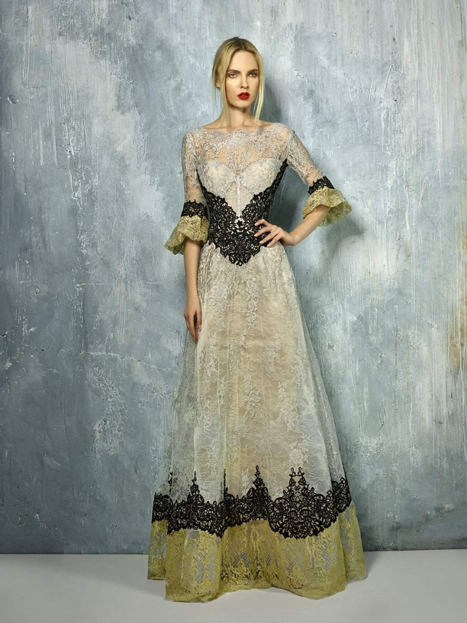 Beside Couture - BC1285 Lace Illusion Bateau A-line Dress