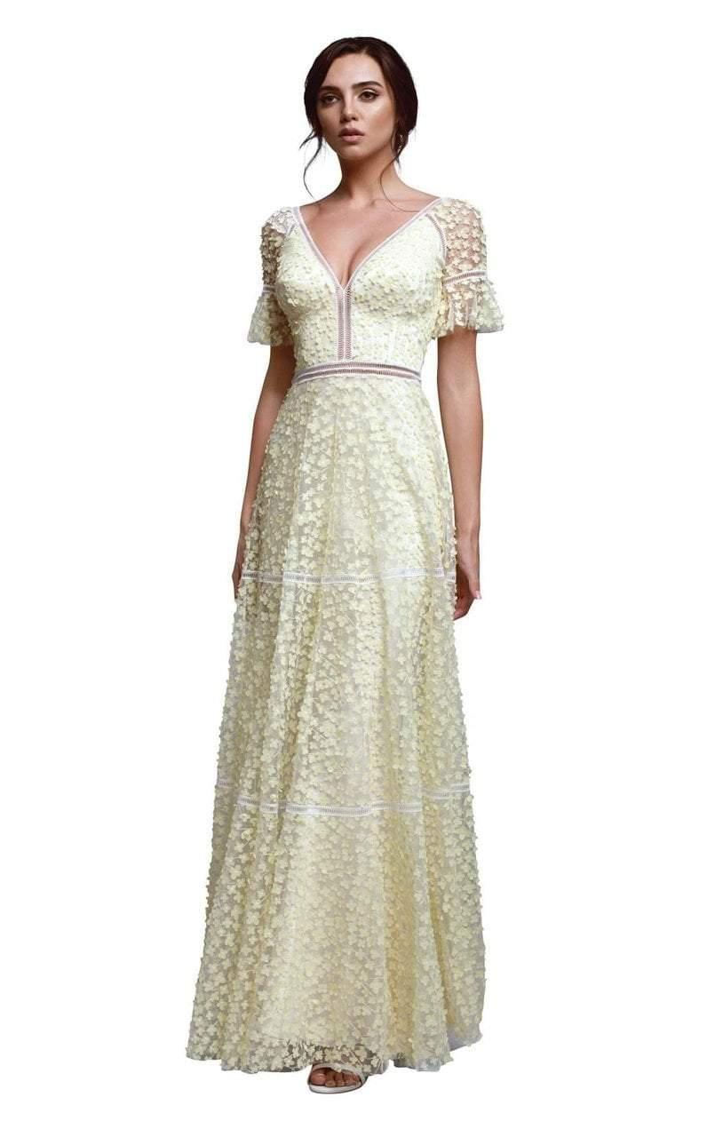 Beside Couture - BC1310 Floral Applique Plunging V-neck Dress