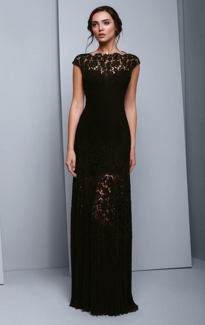 Beside Couture - BC1336 Lace Bateau Pleated Sheath Dress