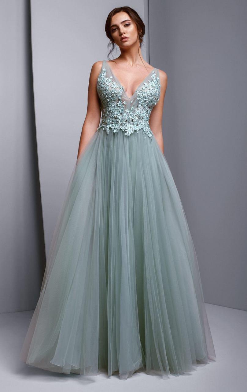 Beside Couture - BC1356 Floral Applique V-neck Ballgown