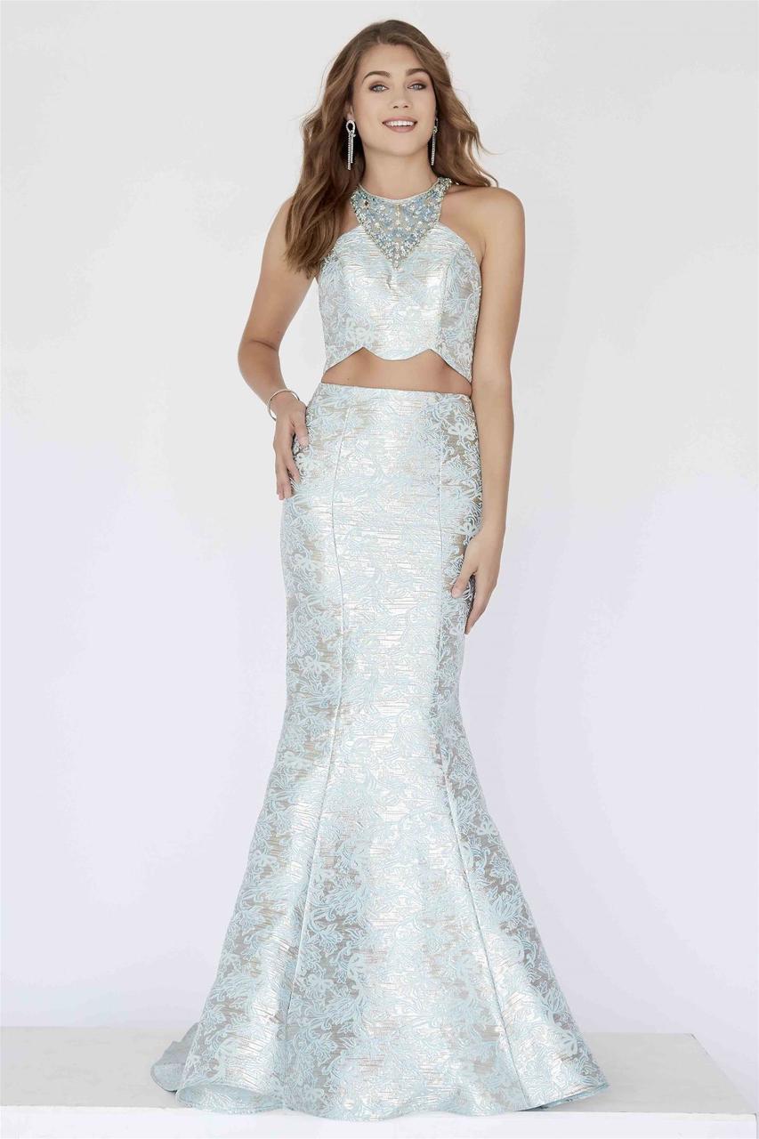 Jolene Collection - 18074 Two Piece Halter Brocade Mermaid Gown