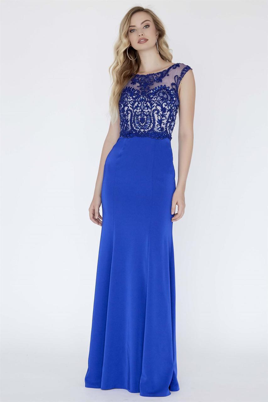 Jolene Collection - 18096 Beaded Lace Illusion Bateau Sheath Dress