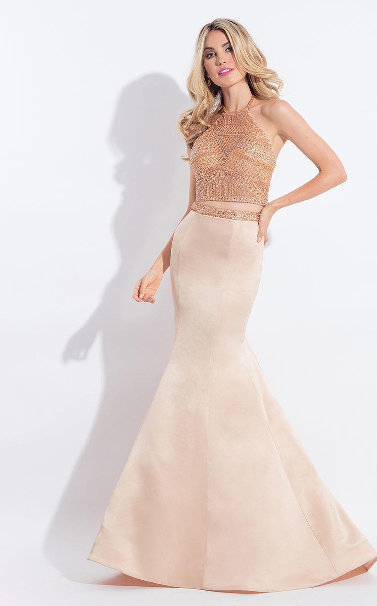 Rachel Allan - 6013 Embellished Halter Mermaid Dress