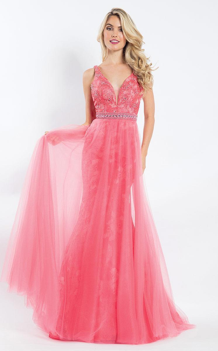 Rachel Allan - 6039 Lace Deep V-neck Mermaid Dress