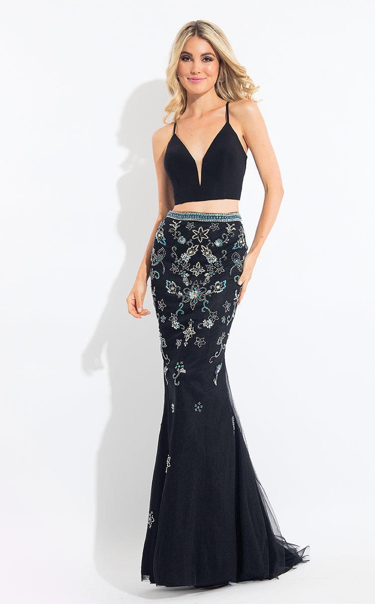 Rachel Allan - 6042 Floral Beaded Trumpet Dress