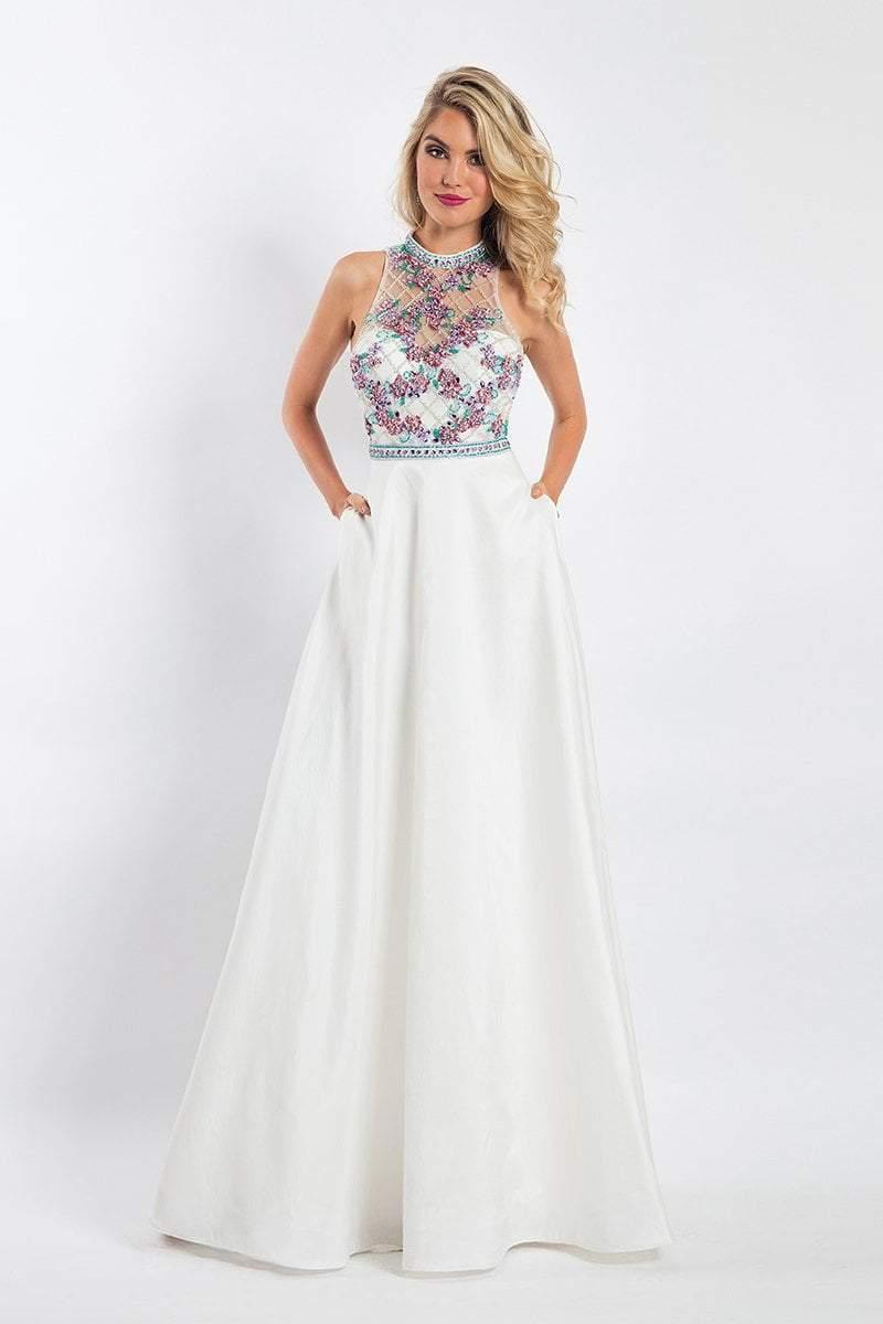 Rachel Allan - 6051 Beaded Sheer High Halter A-line Dress