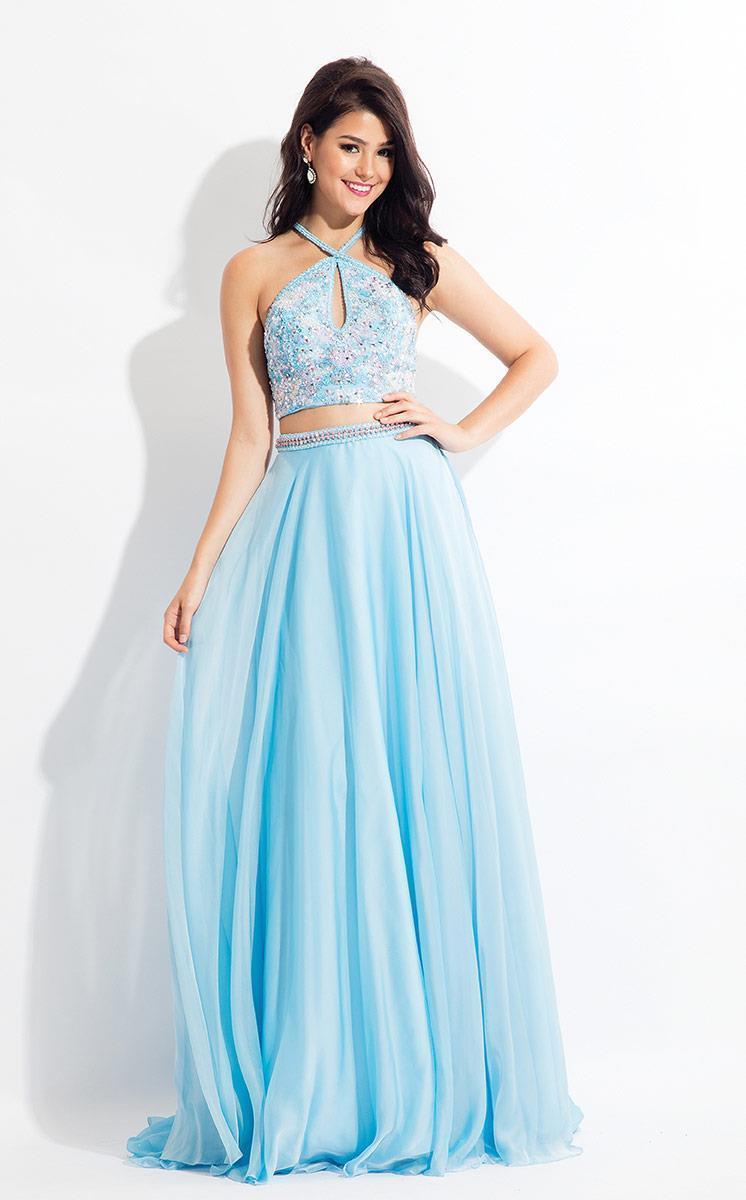 Rachel Allan - 6063 Beaded Halter A-line Dress
