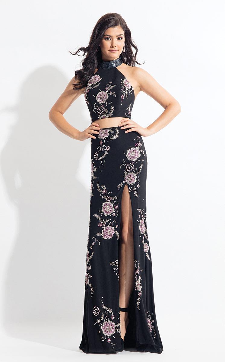 Rachel Allan - 6086 Beaded Two Piece Floral High Halter Gown
