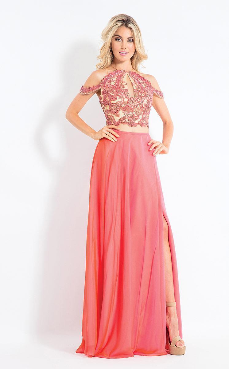 Rachel Allan - 6109 Floral Appliqued Two Piece Gown