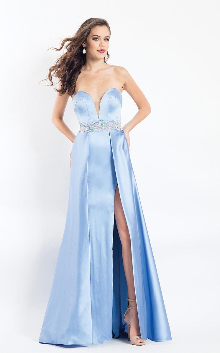 Rachel Allan - 6115 Plunging Sweetheart Appliqued Overlay Gown