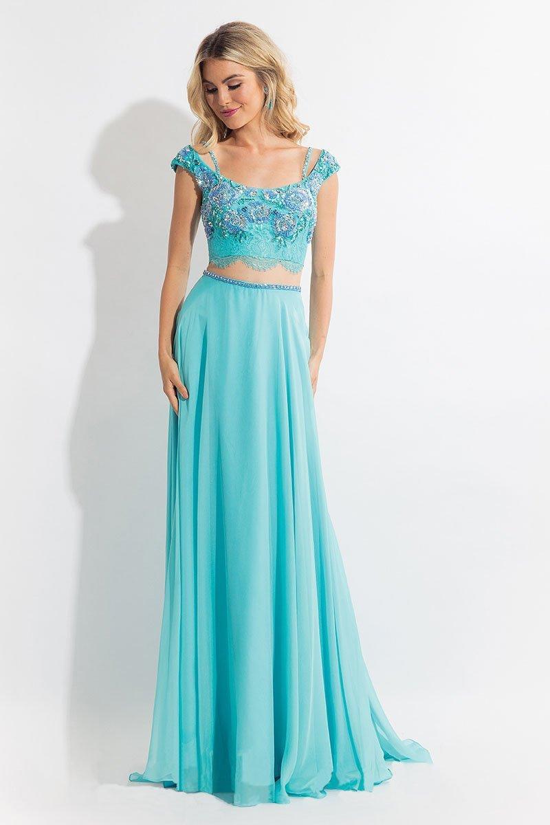 Rachel Allan - 6130 Cap Sleeve Floral Two-Piece Gown