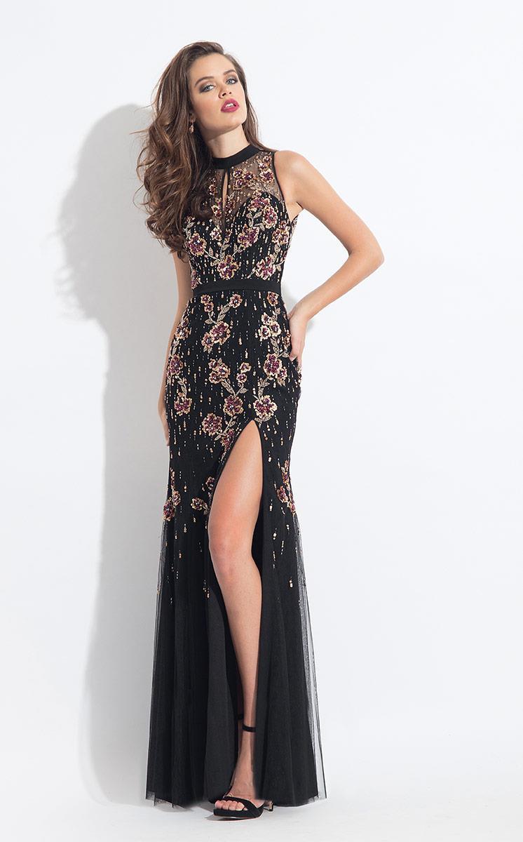 Rachel Allan - 6138 Floral Beaded Jersey Sheath Dress