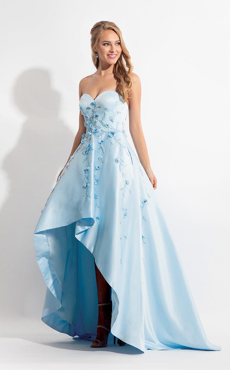 Rachel Allan - 6142 Strapless Blossom Applique High Low Gown