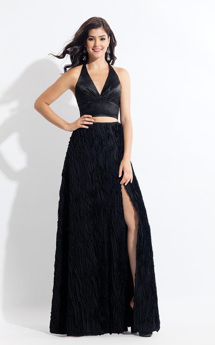 Rachel Allan - 6145 Two Piece Halter Matte Satin/Chiffon Dress