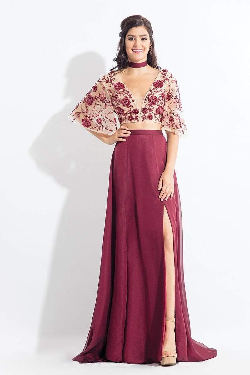 Rachel Allan - 6157 Floral Beaded Kimono Two-Piece Gown