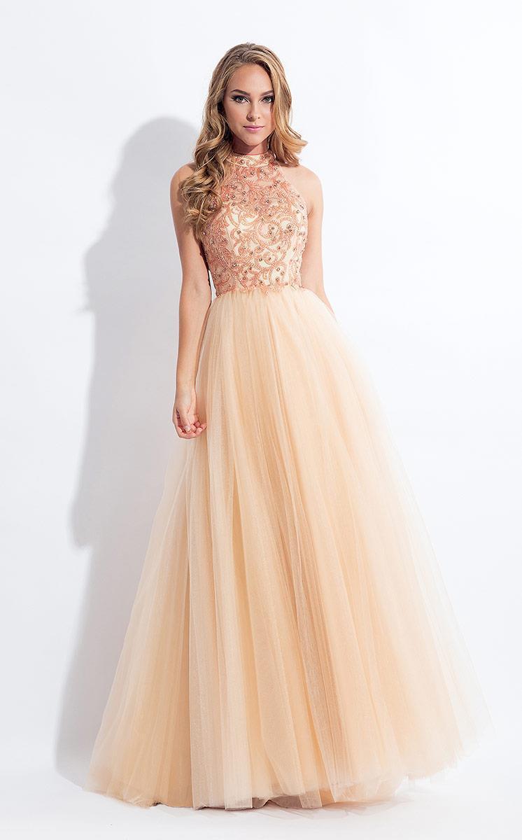 Rachel Allan - 6178 Beaded High Neck Tulle Gown