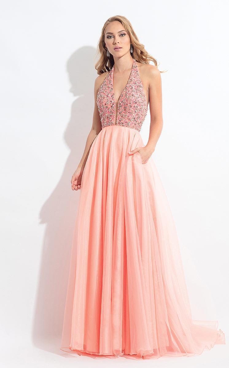 Rachel Allan - 6187 Beaded Plunging Halter Pleated Gown