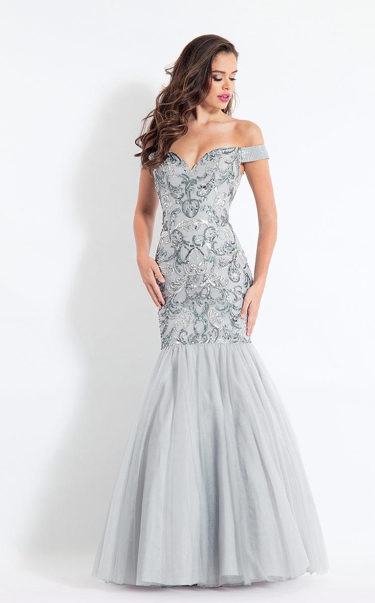 Rachel Allan - 6193 Off Shoulder Embellished Trumpet Gown
