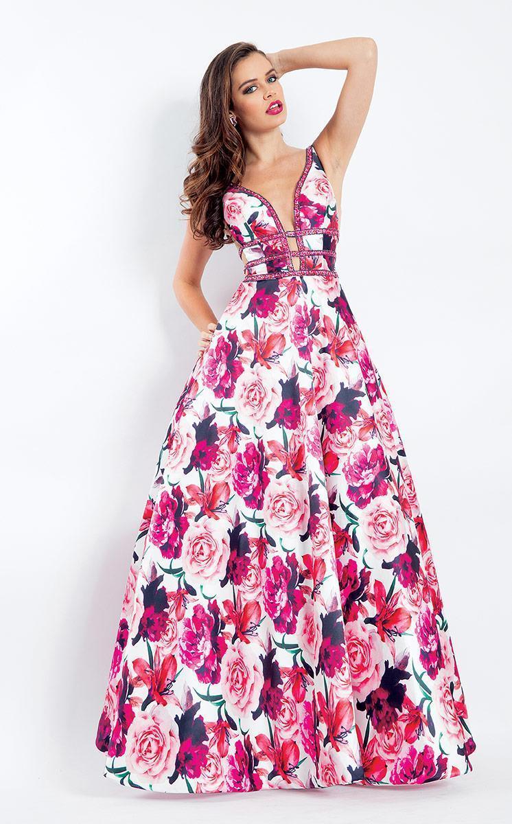 Rachel Allan - 6196 Floral Print Beaded Deep V-neck Ballgown